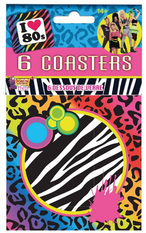 80s Coasters 6pck 80s Disco Pop Retro Party Favour
